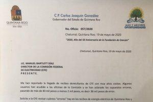 """Gobierno de Yucatán y Quintana Roo exigen a CFE revisar """"errores"""" en recibos de luz"""