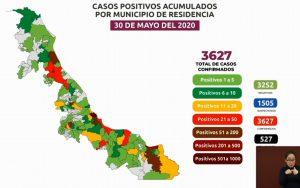 Suman 527 muertos por coronavirus en Veracruz; casos positivos aumentan a 3,627