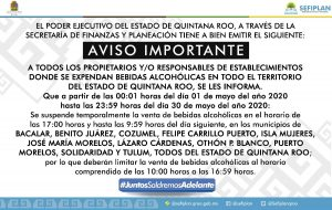 Reducción de horario para la venta de alcohol se extiende en Quintana Roo hasta el 30 de mayo
