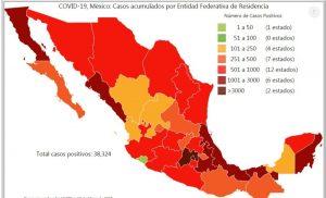 Veracruz y Tabasco, con gran aumento de casos, según mapa del COVID19
