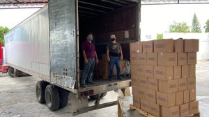 Llegan a Yucatán más de 43 toneladas de víveres enviados por Tamaulipas, Querétaro y Aguascalientes