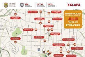 Cierran primer cuadro de la ciudad de Xalapa para reducir movilidad