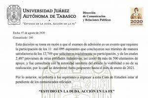 Reprograma la UJAT el examen de admisión para enero del 2021