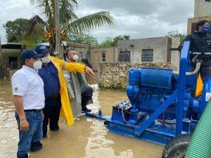 Atención inmediata del Ayuntamiento de Mérida ante las lluvias que ocasionó desde esta madrugada el frente frio nueve
