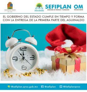 Cumple Gobierno del Estado de Quintana Roo con el pago puntual de la primera parte del aguinaldo