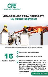Anuncia CFE nueva suspensión de energía en varios fraccionamientos de Playa del Carmen, Quintana Roo